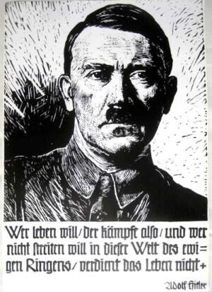 Adolf Hitler black and white poster
