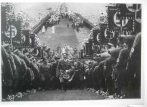 Hitler Nuremberg Rally. Black and white print. A3