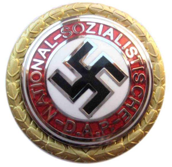 NSDAP Golden Party Badge. nazi members gilt party badge