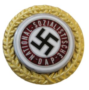NSDAP Golden Party Badge. Small size Nazi golden party badge type for civilian use.