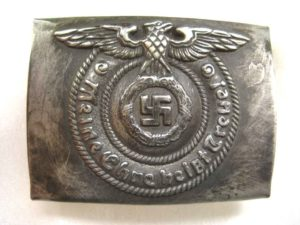 SS EM Belt Buckle with an antique finish