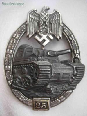 Panzer Assault Badge 25 Silver `Sonnderklasse`