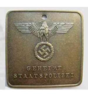 Gestapo ID `Zentral Inspection` Disc.