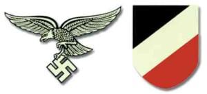 Luftwaffe Helmet Decals 1st pattern. Water applicable WW2 German helmet decals.