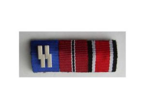 SS Long service, ostfront and iron cross 2nd class ribbon bar. Great copy with correct pin
